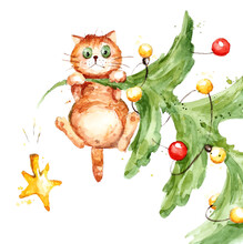 Cat On The Christmas Tree / Watercolor Illustration, Sketch With Splashes And Blots, Funny Cat Climbed Onto The Top And Hung.
