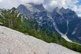 Fototapeta Na sufit - road in mountains, photo as a background , in pasubio mountains, dolomiti, alps, thiene schio vicenza, north italy