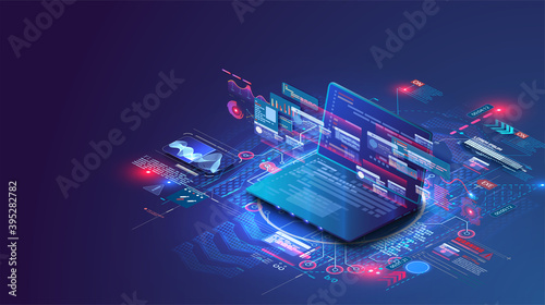 Application of  isometric laptop with business graph and analytics data. Analysis trends and software development coding process concept. Programming, testing cross platform code.Programming or coding
