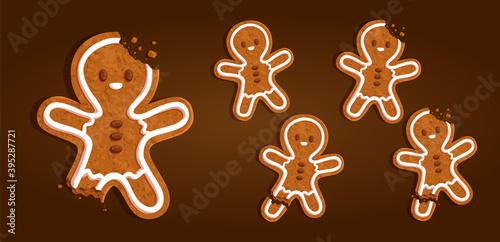 Gingerbread man character cookie set with a torn off leg, bitten head, regular o Poster Mural XXL