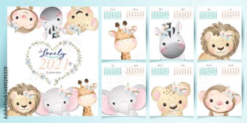 Fototapeta premium Cute doodle animals calendar for year 2021 collection