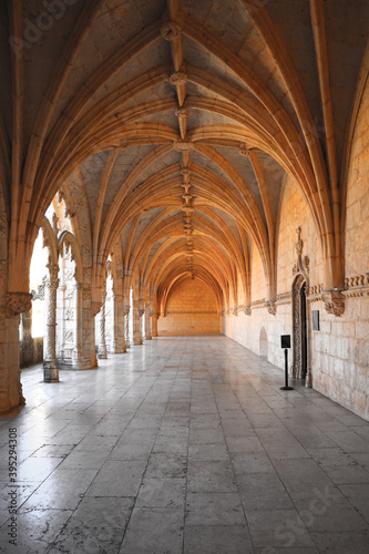 Archway of an old monastery. Cloisters of Jeronimos Monastery Canvas