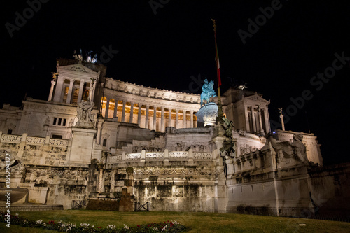 Monument to Victor Manuel II in Rome at night (Italy)