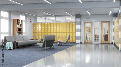 Obraz na plátne Long school corridor with yellow lockers and rest zone, 3d illustration