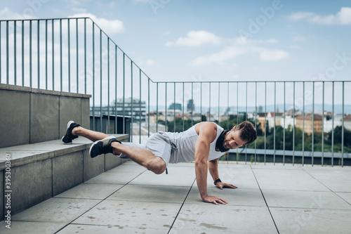 Obraz na plátně Outdoor workout on a rooftop terrace