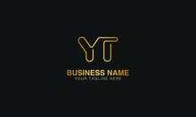 YT Y T Initial Based Letter Typography Logo Design Vector