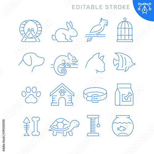 Obraz Pet related icons. Editable stroke. Thin vector icon set - fototapety do salonu