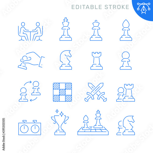 Chess related icons. Editable stroke. Thin vector icon set