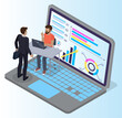 Expert worker evaluate statistics. Concepts for business analysis and planning consulting team work vector illustration. Financial research with data indicators. Business man doing data analysis
