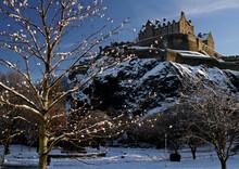 Edinburgh Castle, Scotland, In Winter. Taken From Princes Street Gardens