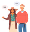 Young people in casual clothes talking Hello in different languages in chat bubble. Friends guy and girl portrait. Smiling man and woman standing straight. Italian and spanish student greet at meeting