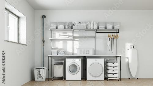 Waschküche im Keller mit Waschmaschine und Trockner