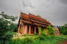 The Background Of A Bridge Or A Walkway To Admire The Mountain Scenery Resembles A Phaya Naga Mortgage Statue, (Wat Phra Bat Phu Pan Kham) In Khon Kaen Province, Thailand.