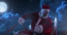Santa Claus Riding Sleigh In Night Sky