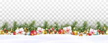 Border With Green Fir Branches, Balls, Stars, Lights Isolated On Transparent Background. Pine, Xmas Evergreen Plants Seamless Banner. Vector Christmas Tree Garland And Snow Decoration Pattern