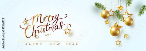 Fotografie, Obraz Border with green fir branches, Christmas tree gold balls, golden stars on blue background