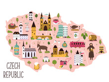 Stylized Illustrated Map Of Czech Republic With Symbols, Famous Landmarks.
