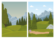 Two Landscapes Scenes With Pines Forest Vector Illustration Design