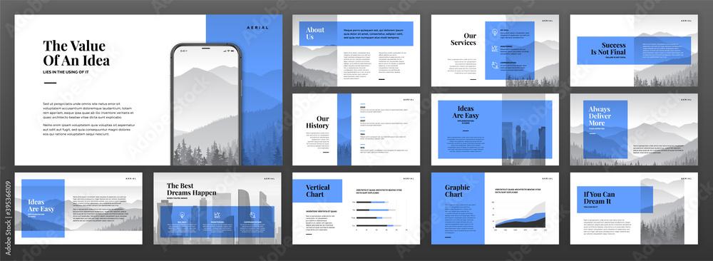 Fototapeta Creative powerpoint presentation templates set. Use for modern keynote presentation background, brochure design, website slider, landing page, annual report, company profile.