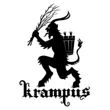 Christmas Illustration, Postcard. Krampus Central European Folklore Character. Krampus Christmas Horned Demon