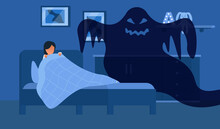 Fear Of Darkness. Little Child Scared Of Spooky Monster From Nightmare. Female Character Lying In Bed Without Sleep And Being Afraid Of Ghost. Flat Cartoon Vector Illustration