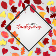 Thanksgiving Flyer Or Poster. Fall Traditional American Holiday. Background With Maple And Oak Red And Orange Leaves Forming A Border Frame. Vector Illustration.