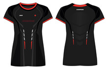 Women Sports T-shirt Jersey Design Concept Illustration Vector Suitable For Girls And Ladies For Soccer, Netball, Football, Volleyball, Tennis, Badminton Jersey. Sport Uniform Kit For Sports Activity