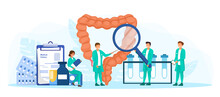 Male And Female Characters Inspecting And Study Proctology. Doctor Examine Intestine. Abstract Concept Of Health And Medical Treatment. Flat Cartoon Vector Illustration