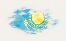 Painted National Flag Of Kazakhstan.