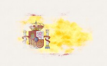 Painted National Flag Of Spain.