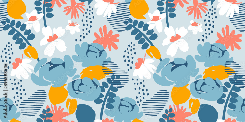 Fototapeta Floral abstract seamless pattern. Vector design for different surfases.