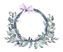 Hand-drawn Watercolor Wreath, Consisting Of Branches, Leaves, Pink Bow, Winter Berries. Festive Wreath, Greenery Frame For Invitations, Cards, Posters, Scrapbooking