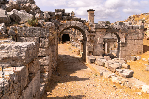 Ruins of enter ancient theater in Xanthos town, old roman civilization in Turkey Canvas