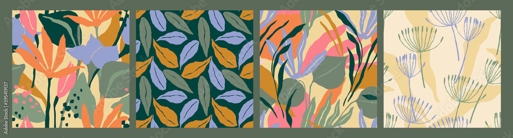 Fototapeta Abstract collection of seamless patterns with leaves and geometric shapes. Modern design .