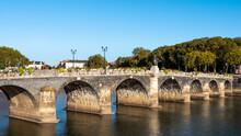 The Verdun Bridge (pont De Verdun) Is A Bridge Crossing The Maine River In The Center Of Angers That Connects Downtown To The La Doutre District. Blue Sky, Sunny Day. Angers Is A French Town.