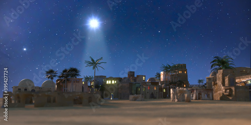 Photo The star shines over the manger of christmas of Jesus Christ, 3d render