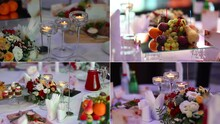 Anniversary Or Wedding. Split Screen. Served Table Before The Banquet. Collag