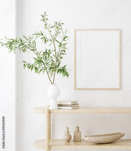 Obraz na plátně Mock up frame in home interior background, white room with natural wooden furnit