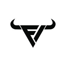 Abstract Letter M 3 Triangle Bull Head Black Logo