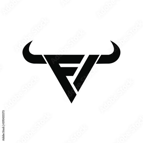 Fototapeta abstract letter m 3 triangle bull head black logo