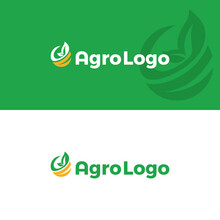 Agro Logo Design Template. Leaf On Green Background. Agriculture Vector. Farm Concept.