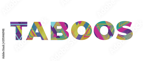 Taboos Concept Retro Colorful Word Art Illustration Canvas Print