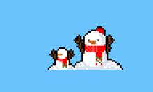 Pixel Art Cartoon  Snowman Character With Mini Snowman.