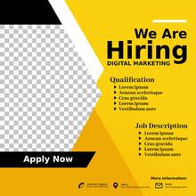Hiring, Job Vacancy Design Poster.Open Recruitment Digital Marketing Design Template. Social Media Post Design Layout