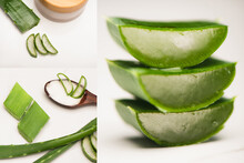 Collage Of Cut Aloe Vera Leaves, Wooden Spoon, And Container With Homemade Cosmetic Cream On White, Stock Image