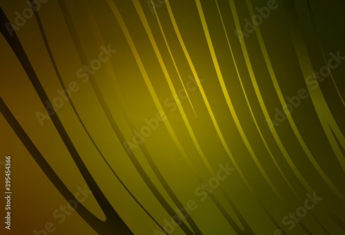 Photo Dark Green, Yellow vector background with curved lines.