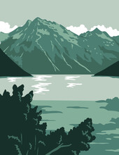 Lake Clark National Park And Preserve In Anchorage Alaska United States WPA Poster Art Color