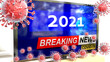 canvas print picture Covid, 2021 and a tv set showing breaking news - pictured as a tv set with corona 2021 news and deadly viruses around attacking it, 3d illustration