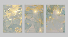 Blue-grey, And Gold Marble Abstract Backgrounds. Set Of Alcohol Ink Technique Vector Stone Textures. Modern Paint In Natural Colors With Glitter. Template For Banner, Poster Design. Fluid Art Painting