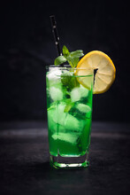 A Green Dragon Cocktail (gin, Mint Liqueur And Lemon Juice)